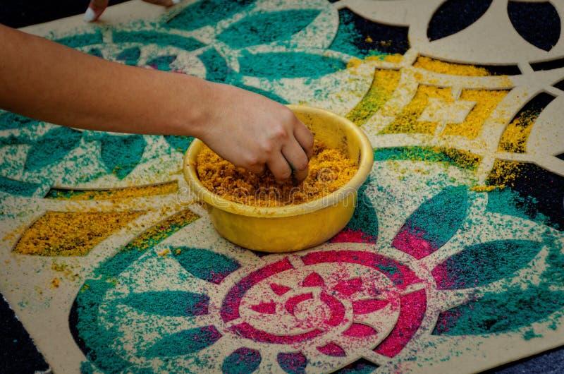 Semana Santa Carpet Stencil arkivfoton