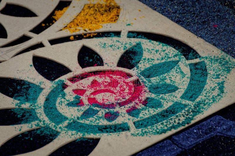 Semana Santa Carpet Stencil II royaltyfria bilder