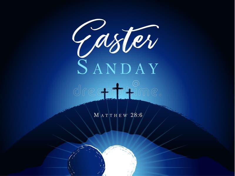 Semana santa de pascua domingo, cruz tres en bandera de la colina libre illustration