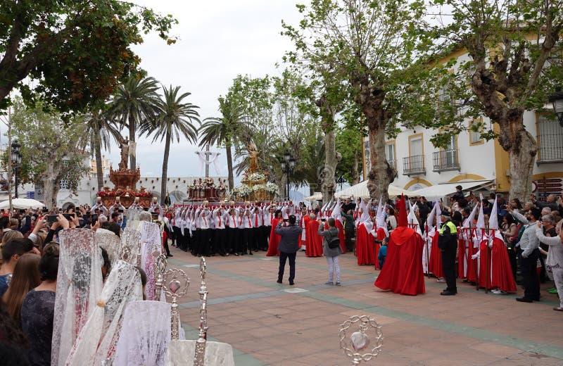 Semana Santa Easter Sunday à Nerja, Andalousie, Espagne photos libres de droits