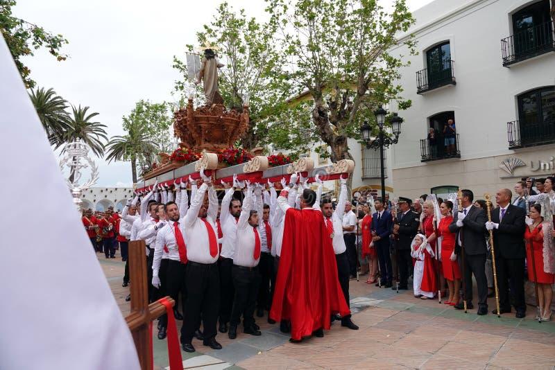 Semana Santa Easter Sunday i Nerja, Andalusia, Spanien arkivfoto