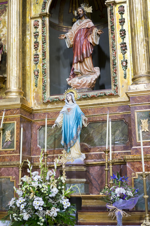 Semana santa en España, imágenes de vírgenes y representaciones de Chr foto de archivo