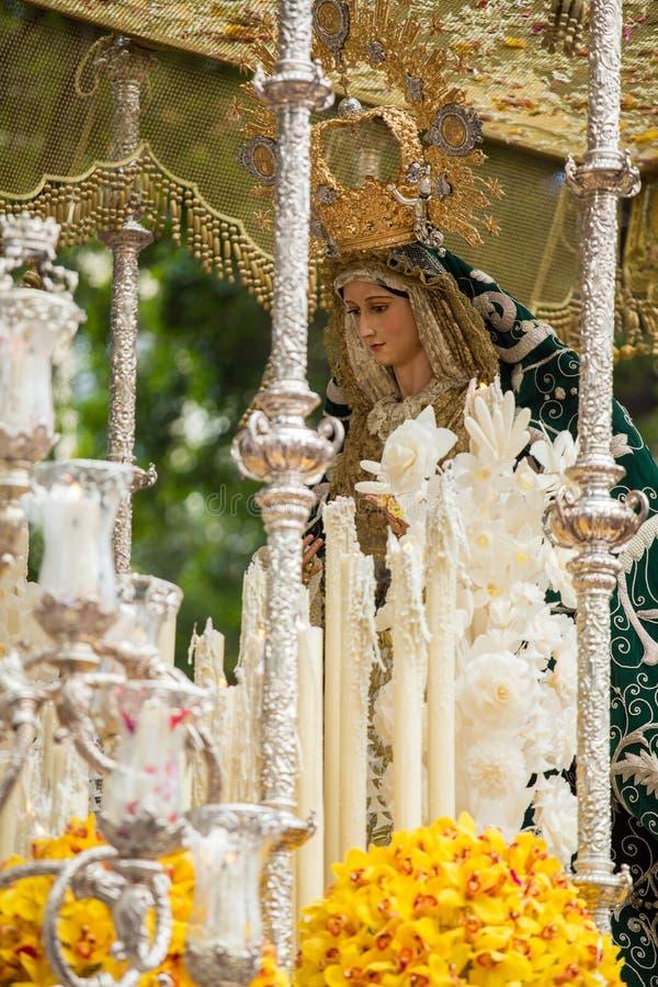 Semana santa en Málaga, España Virgen María de la procesión de Pollinica imagen de archivo