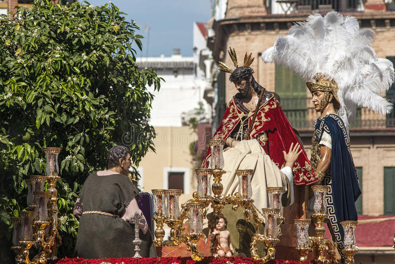 Semana santa en Sevilla, fraternidad de San Esteban imagenes de archivo