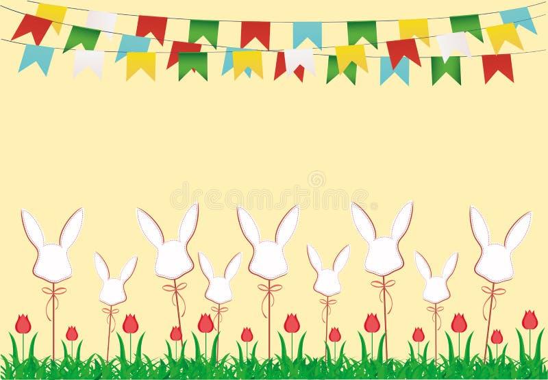 Semana Santa Guirnalda de banderas Huevos hechos del papel en un palillo con el arco libre illustration