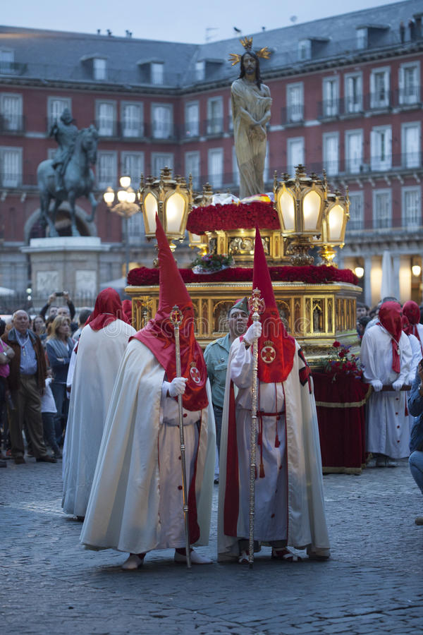 Semana Santa, Madrid. MADRID, SPAIN - APRIL 03, 2015: Procession of Jesus of Nazareth The Poor through the streets of Madrid in the festivities of Easter Holy stock photo