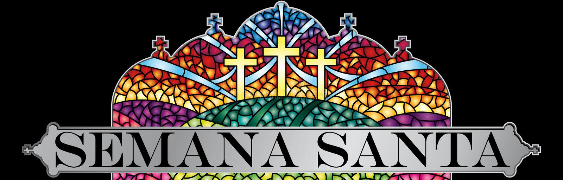 Semana Santa - a Semana Santa na língua espanhola - no vitral com o tema da crucificação de Cristo com quadro preto, Bibl ilustração royalty free