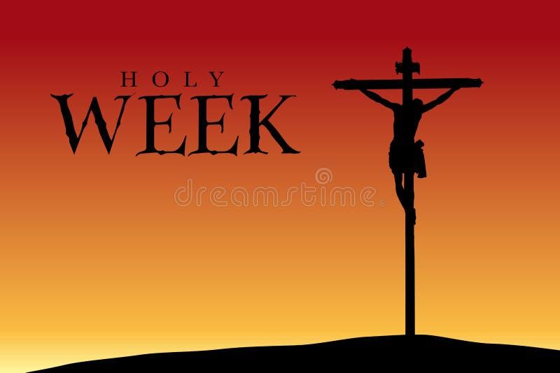 Semana santa - silueta de la crucifixión de Cristo en la puesta del sol stock de ilustración