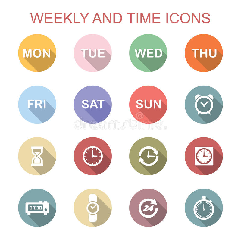 Semanario e iconos largos de la sombra del tiempo ilustración del vector
