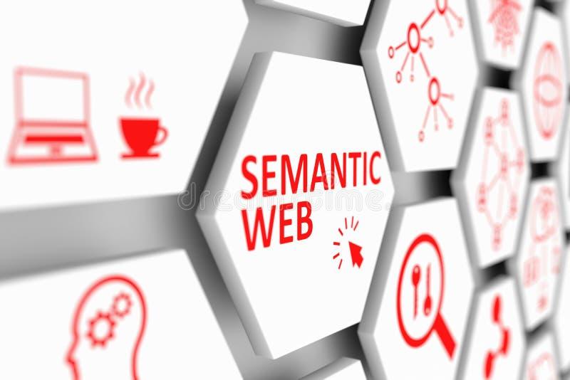 SEMANTIC WEB concept. Cell blurred background 3d illustration royalty free illustration