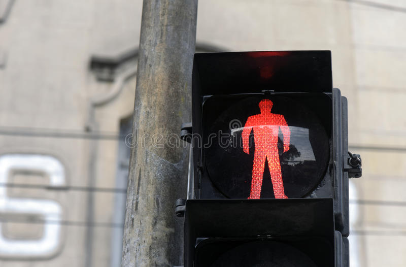 Semaphore on red for pedestrian. SANTOS, SP, BRAZIL - JULY 18, 2015 - Red traffic light for pedestrian in Sao Paulo stock images