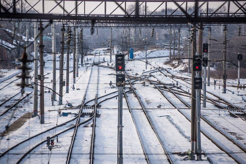 Semaphoreisenbahnsignal stockfotografie
