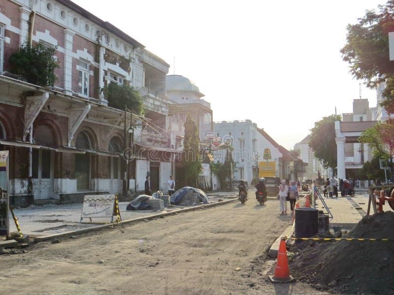 Kota Lama Semarang. Semarang, Indonesia - October 28, 2018: Working progress of revitalization project in Kota Lama. Some cultural heritage old buildings are stock photo
