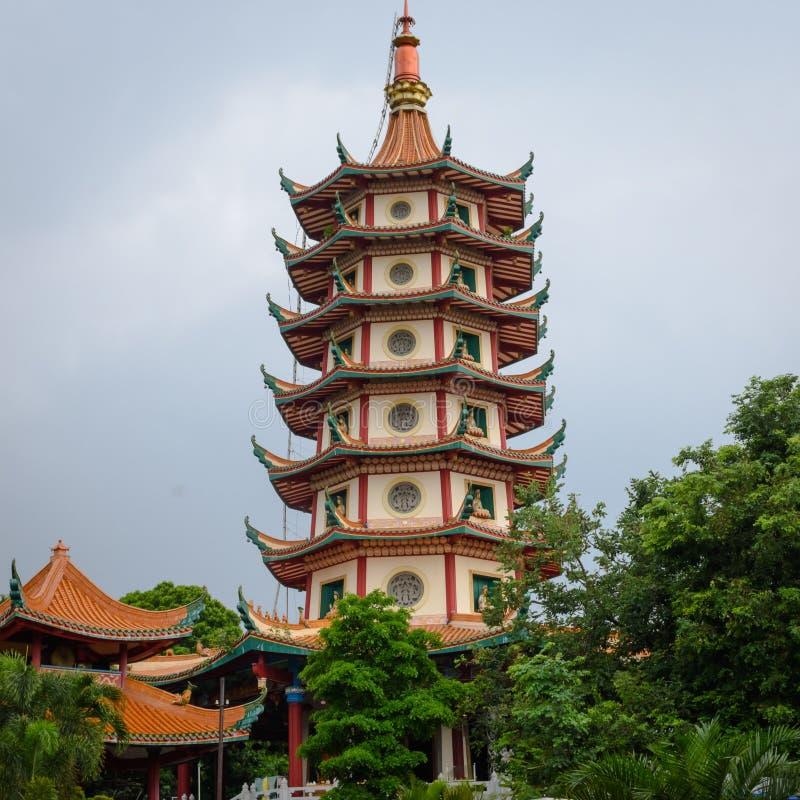 Semarang Indonesien - December 3, 2017: Sikt av pagoden Avalokitesvara p? Vihara Buddhagaya Watugong Vihara Buddhagaya ?r fotografering för bildbyråer