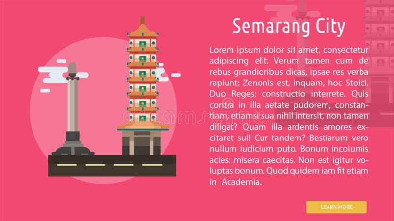 Semarang stad av Indonesien den begreppsmässiga designen royaltyfri illustrationer