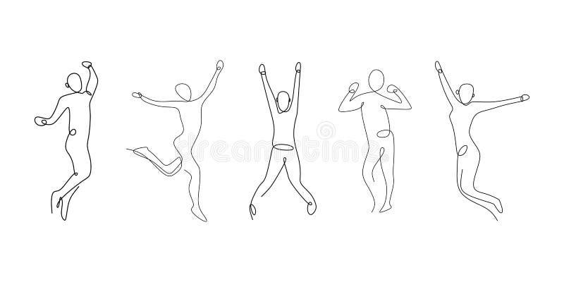 Sembler pour trois personnes heureux et attrayants avec simple continu illustration de vecteur de dessin au trait illustration libre de droits