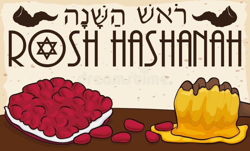 Seme e miele deliziosi del melograno per la celebrazione ebrea del nuovo anno, illustrazione di vettore illustrazione vettoriale