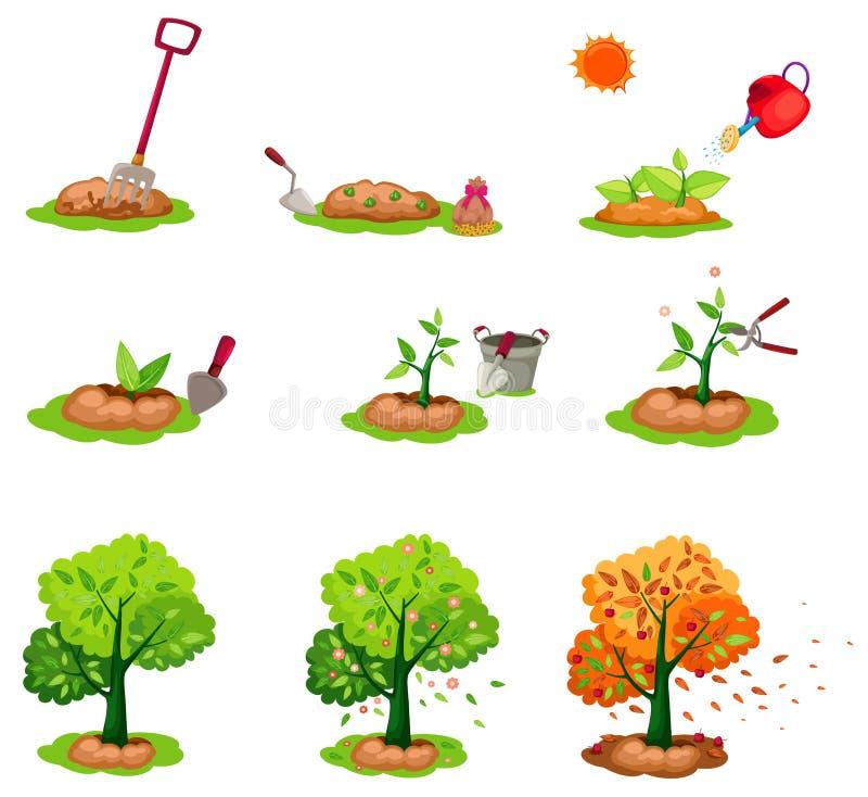 Semeando as árvores ajustadas ilustração stock