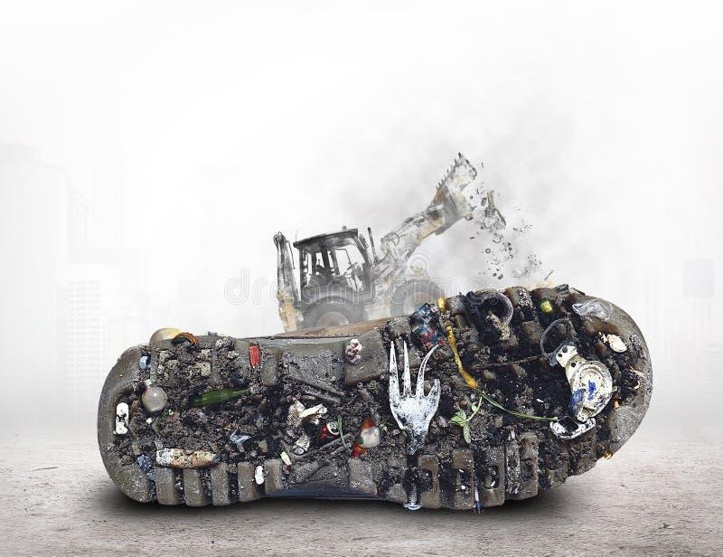Semelle de la chaussure avec la saleté et les déchets images libres de droits