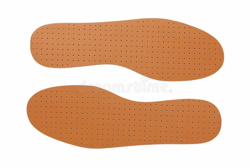 Semelles intérieures de chaussure en cuir de Brown images libres de droits