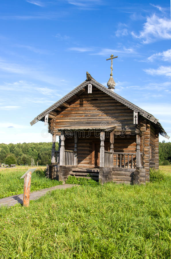 SEMENKOVO, RUSSIA - AUGUST 14, 2016: Prophet Elijah Chapel in museum of wooden architecture, Semenkovo, Vologda region. Russia royalty free stock image