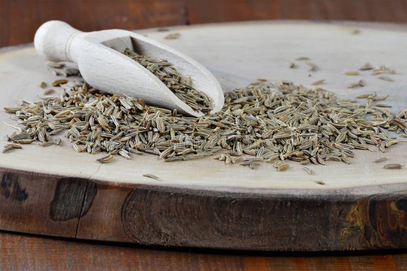 Semente de cominhos e colher de madeira a bordo do cyminum do Cuminum fotografia de stock royalty free