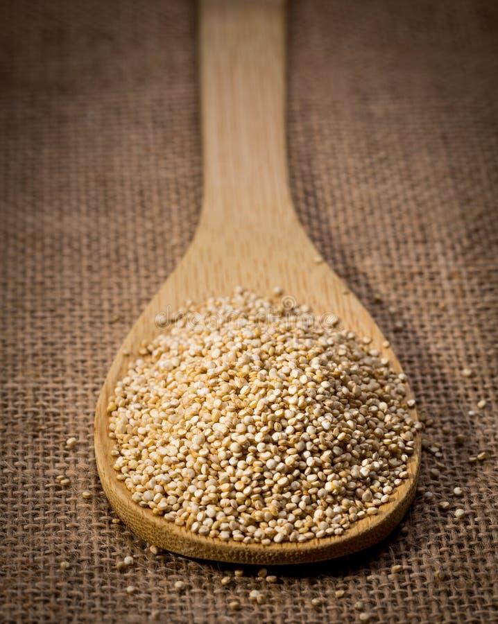 Semente do Quinoa no fundo de madeira da colher e do linho fotografia de stock royalty free