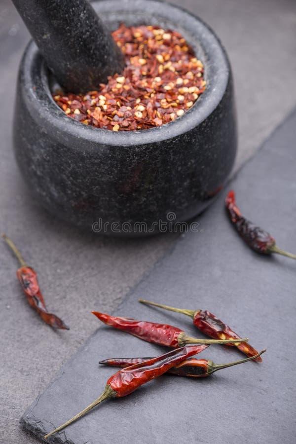 Sementes das pimentas de pimentão foto de stock