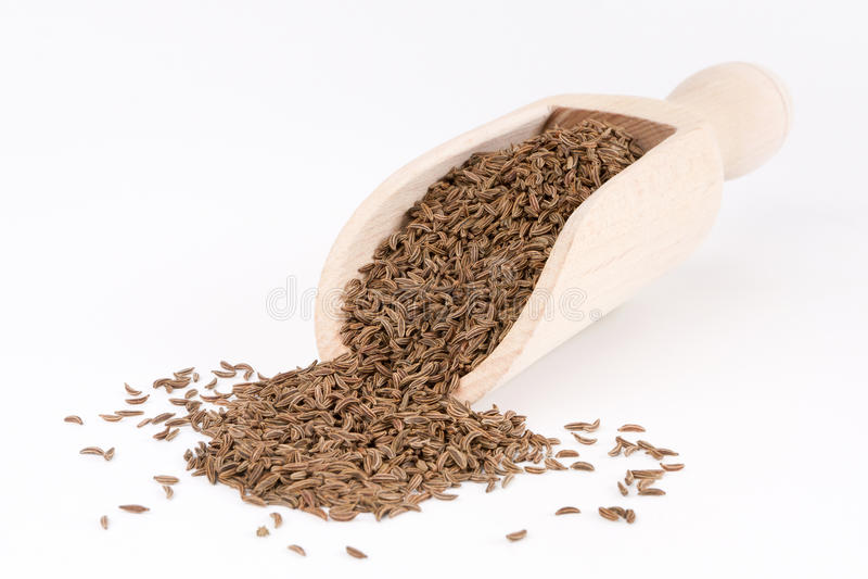 Sementes de cominhos na colher de madeira imagem de stock royalty free
