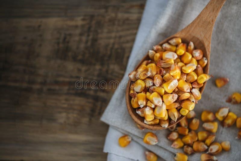 Sementes do milho em uma colher de madeira na serapilheira imagem de stock royalty free