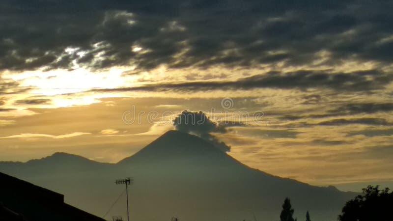 Semeru Peek. Taken from balcony in Dieng, Sumberjo, Malang royalty free stock photography