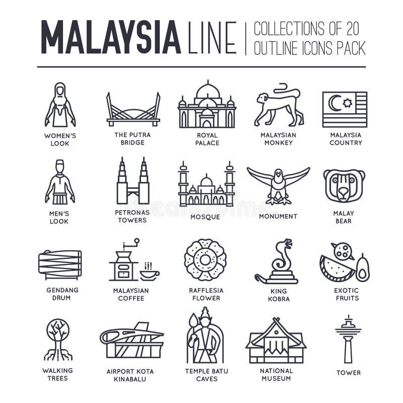 Semester för landsMalaysia lopp av stället och särdraget Uppsättning av arkitektur, mode, folk, objekt, monumentbakgrund stock illustrationer