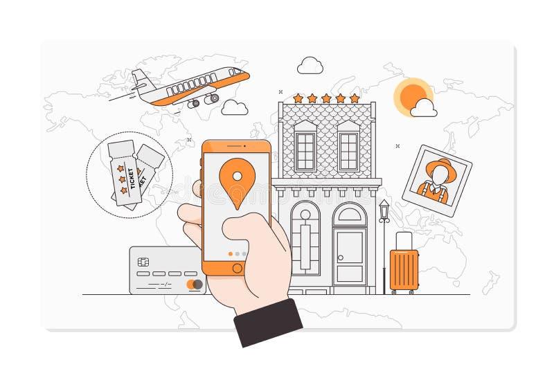 Semester för sommarferie som bokar online-begreppet, online-boka designbegrepp för mobiltelefonhotell, flyg, bil stock illustrationer