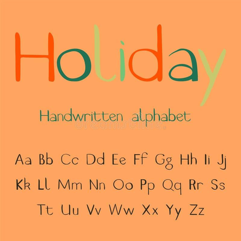Semester Handskrivet alfabet vektor illustrationer