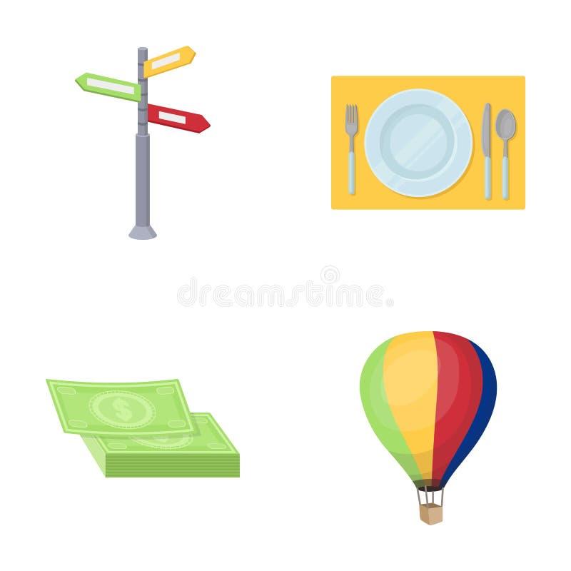 Semester lopp, pekare, väg, navigering Vila och resa fastställda samlingssymboler i materiel för symbol för tecknad filmstilvekto royaltyfri illustrationer