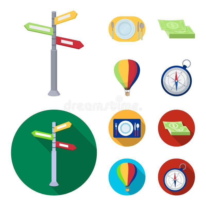 Semester lopp, pekare, väg, navigering Vila och resa fastställda samlingssymboler i tecknade filmen, symbol för lägenhetstilvekto vektor illustrationer