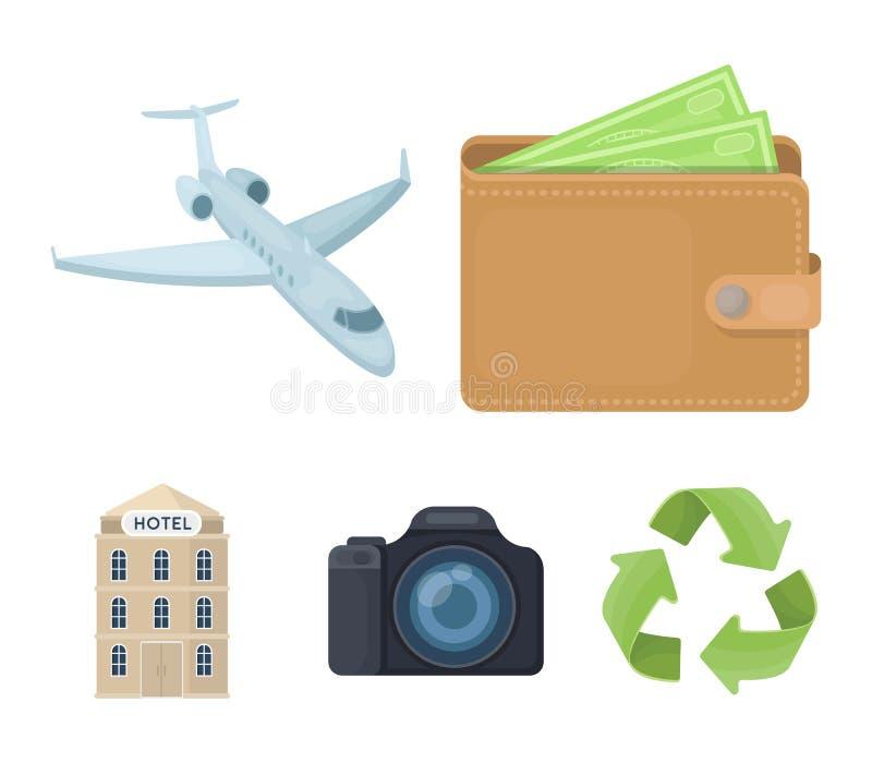 Semester lopp, plånbok, pengar Vila och resa fastställda samlingssymboler i illustration för materiel för symbol för tecknad film stock illustrationer