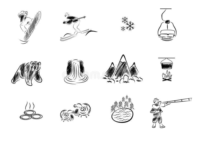 Semester och bergsvart royaltyfri illustrationer