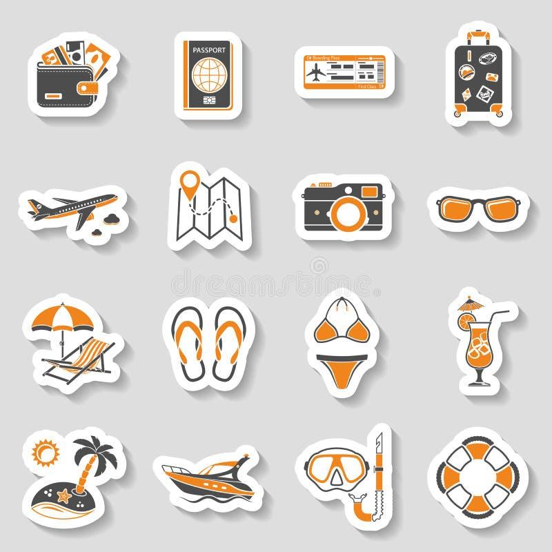 Semester- och för turismsymbolsklistermärke uppsättning royaltyfri illustrationer