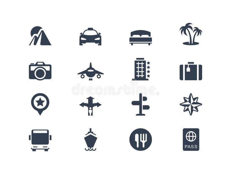Semester- och loppsymboler stock illustrationer