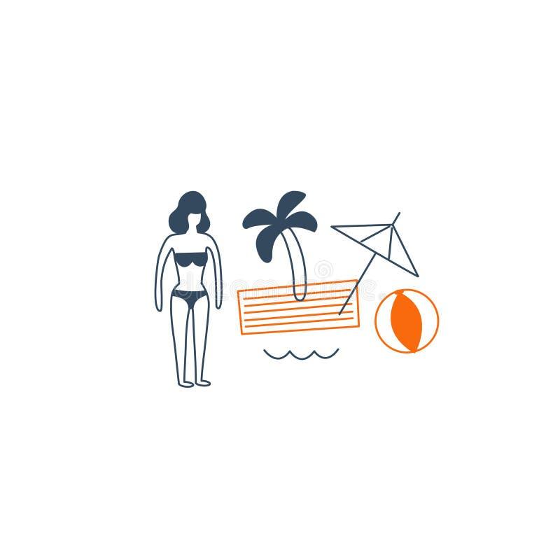 Semester vid havet stock illustrationer