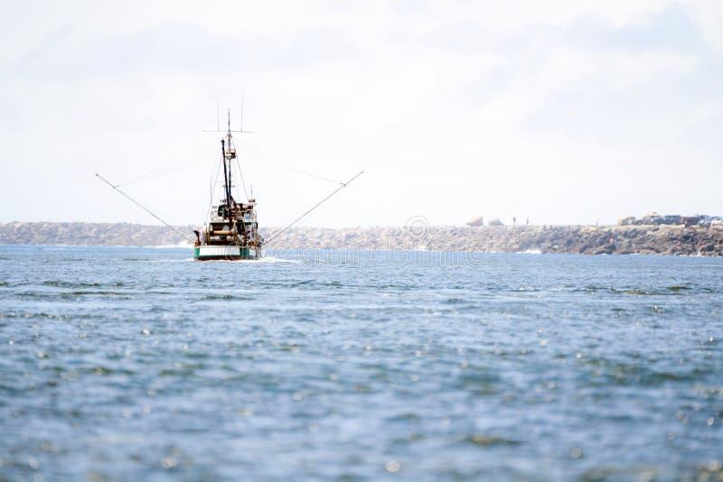 Semesterfartygsegling in i horisonten arkivfoton