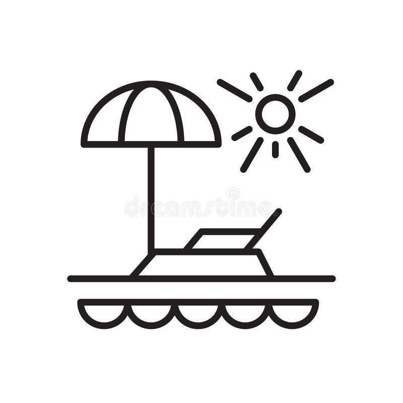 Semesterlinje symbol, översiktsvektortecken, linjär stilpictogram som isoleras på vit stock illustrationer
