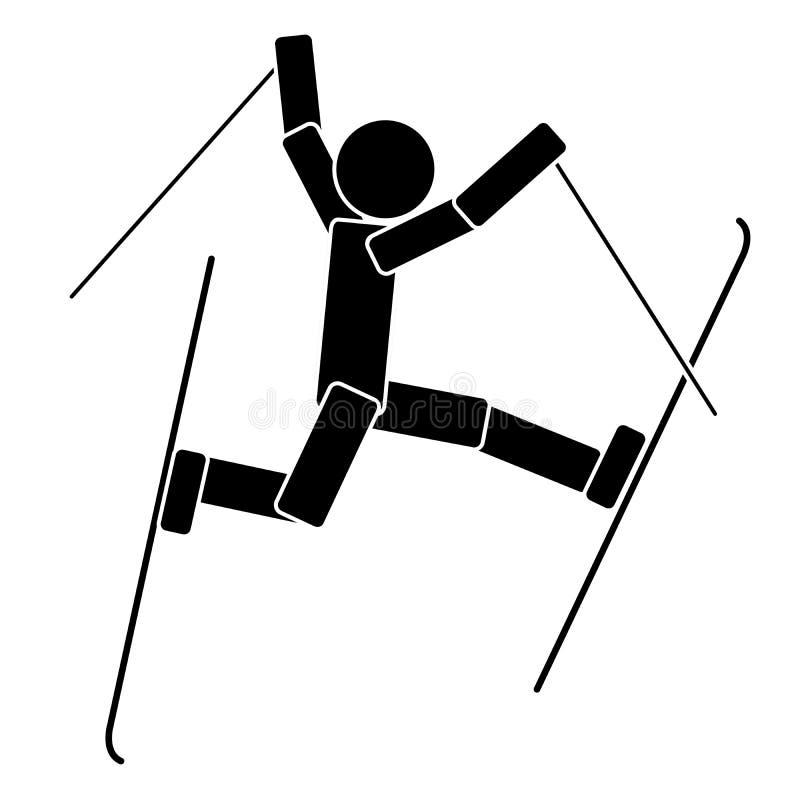semesterorten för caucasus skidar den dombay fristilberg skidåkning Plan symbol vektor illustrationer