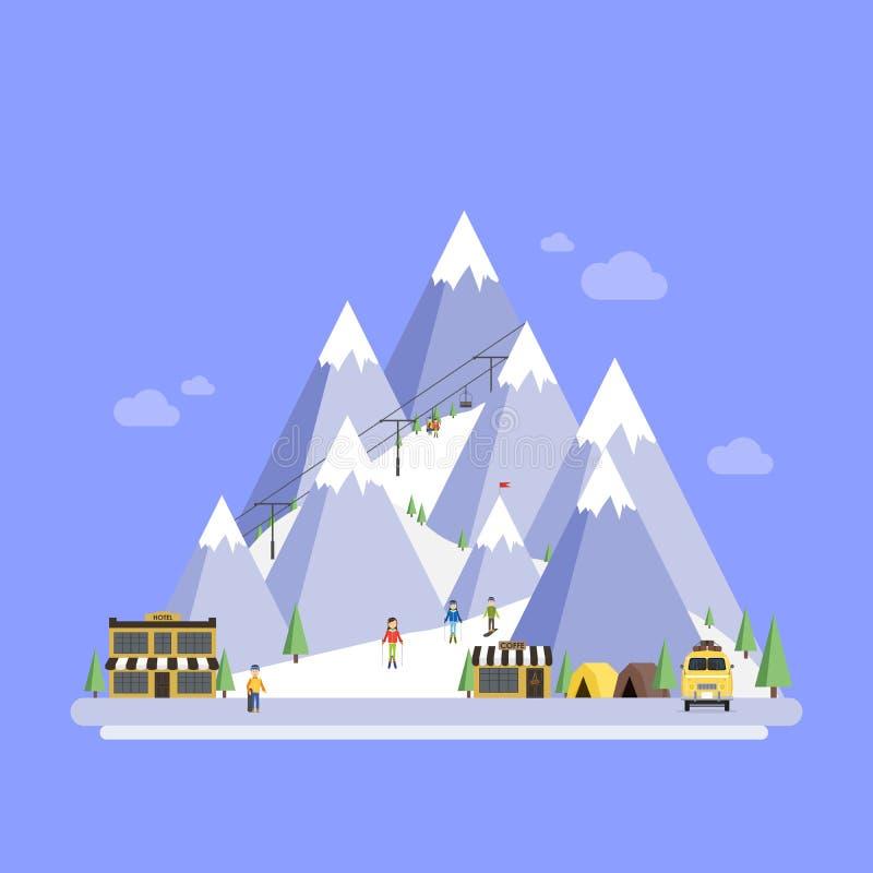 semesterorten skidar Berglandskap Vektorlägenhet royaltyfri illustrationer
