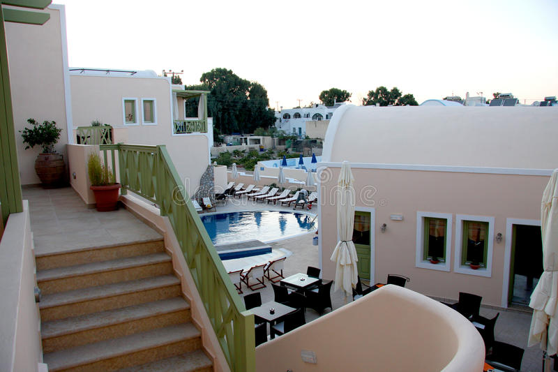Semesterorthotell - Santorini arkivbilder