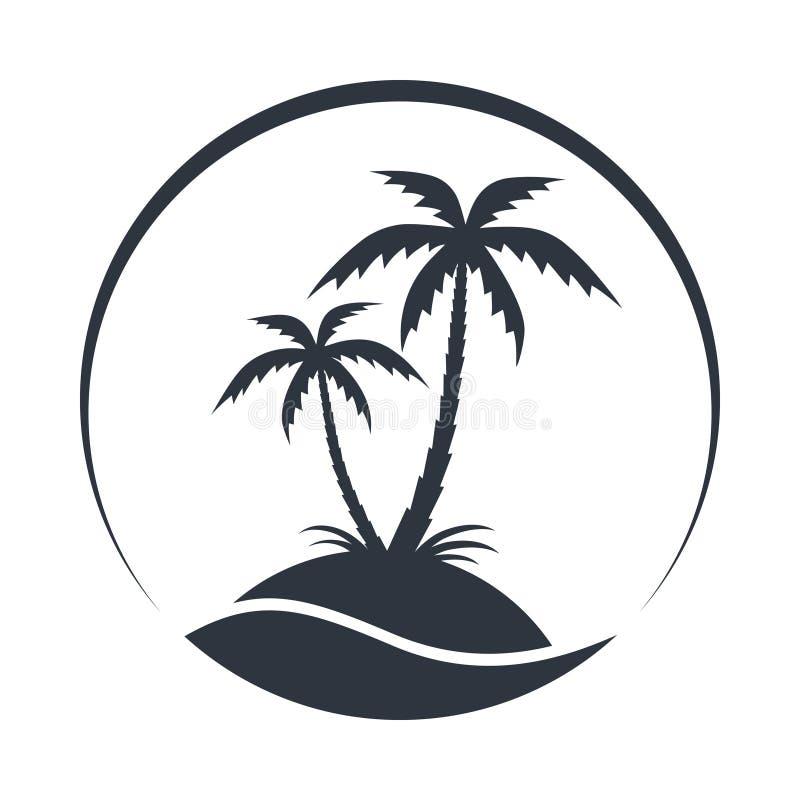 Semesterortlogoen med kokosnöten gömma i handflatan och havet stock illustrationer