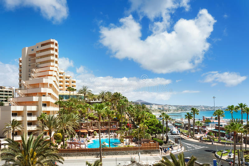 Semesterortstad Playa del Ingles Maspalomas canaria gran arkivfoton