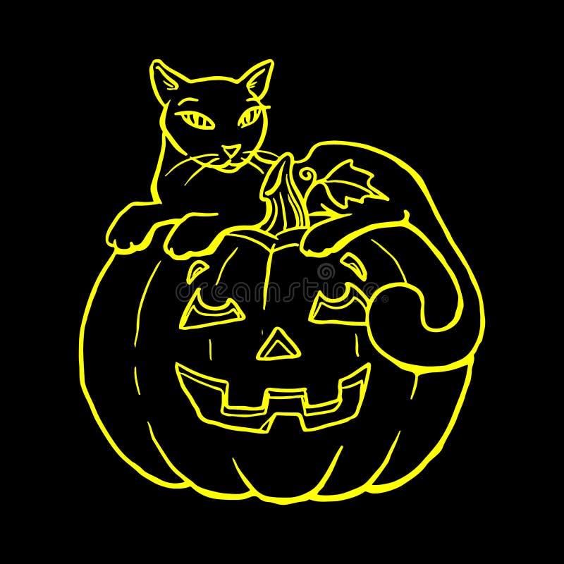 Semestra allhelgonaaftonen, kontur av gula glödande lögner för en katt stock illustrationer