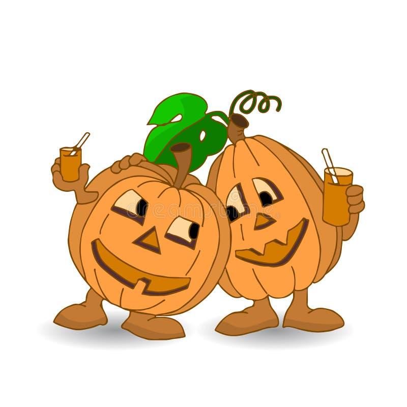 Semestra allhelgonaaftonen, vilar dricker två gladlynta pumpor och fruktsaft stock illustrationer